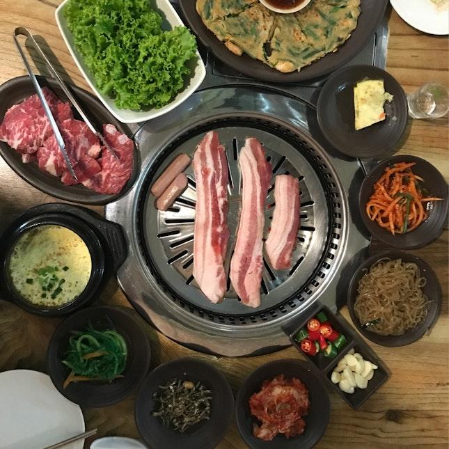 Korean BBQ: Galbisal Beef Short Rib ($30) & Samgyeopsal Pork Belly ($18)