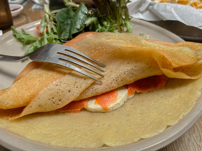 Salmon & Cream Cheese Crepe