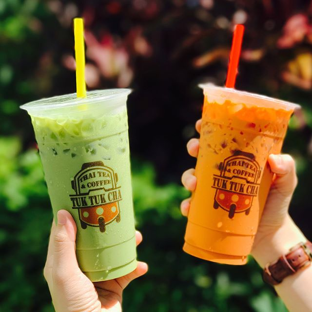 Large Thai milk tea [$1.75 UP: $3.50]  Large Thai green milk tea - less ice [$1.95 UP:$3.90]  As part of @tuktukcha 's 1st anniversary, all items are going at a whooping 50% off just for 4th july!