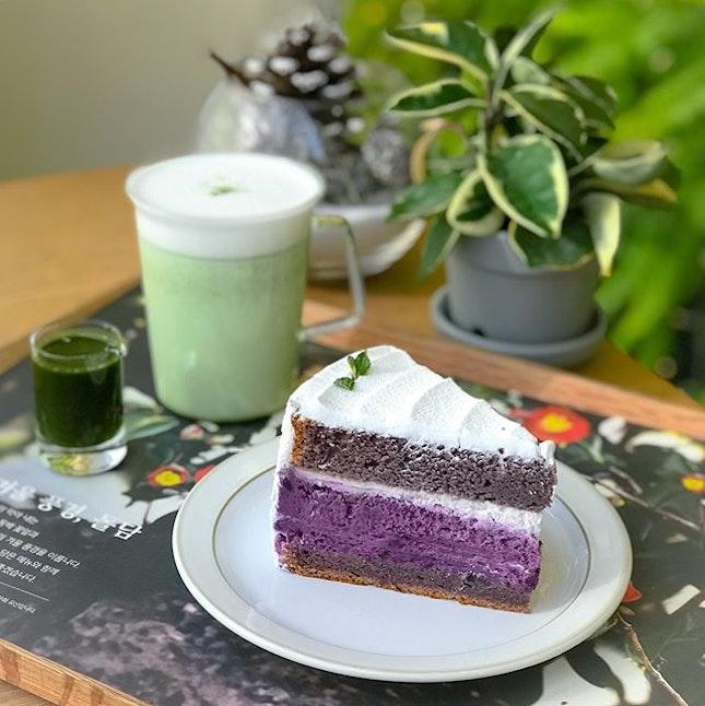 Purple sweet potato cake [6500 won ~> $8 SGD]  Green tea latte [6000 won ~> $7.50 SGD]  One of the best purple sweet potato cake I've had so far that tastes much better than it looks!