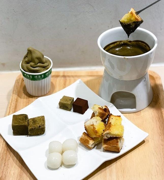 Houjicha fondue set [$16.80]  In replacement of the brownies, the houjicha fondue set comes with 2 pieces of Nama chocolate now.