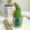 Ceremonial matcha softserve [$10.80/ regular cup] .