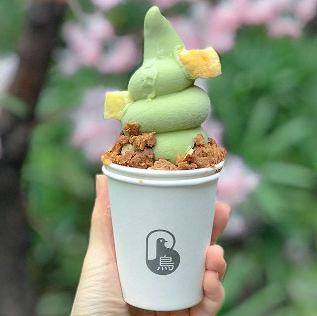 Thai green tea softserve [$7] .