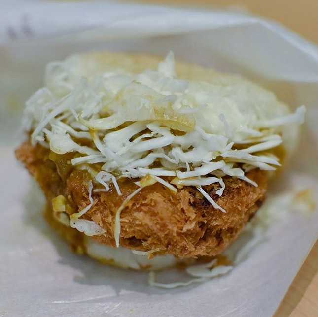 Keema curry chicken katsu rice burger [$4.75]  A seasonal special that's only available till tomorrow (19 May), this curry chicken katsu burger comes in either bun or rice patty of your choice.
