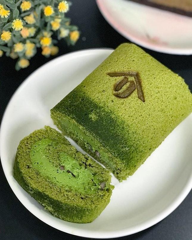 Matcha roll cake [$28] .