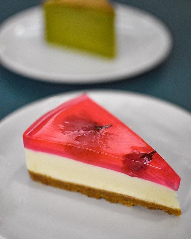Yuzu Sakura cheesecake [$4] Matcha cotton cheesecake[$3.50] .