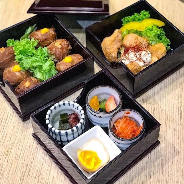 Yakiniku Onigiri & Chicken Nanban bento [$13.99++] .