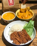 Chicken biscuit with curry rice [$6.90] Curry chicken [$6.80] Curry Assam Tiger Prawns [$28] .