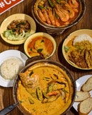 Curry Assam Fish Head [$28]  Assam Prawns [off-menu item] .