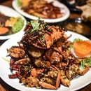 MALA creations: 1️⃣ Sichuan Mala Fried Crab[$45(R), $60(L)] As much as I love seafood and especially crabs, the mala flavour and fragrance seems hard to pass through those solid, rock-hard armours of the huge Sri Lankan crabs.