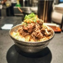 Beef Sukiyaki Don ($13.90++) which comes with sesame tofu with wasabi, miso soup, and an onsen egg.