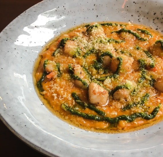Seared Prawn with Carrot Risotto