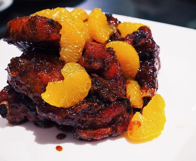 The pork ribs ($36 for a small) at Wan Hao at the Singapore Marriott Tang Plaza come with a glazed mandarin orange sauce.