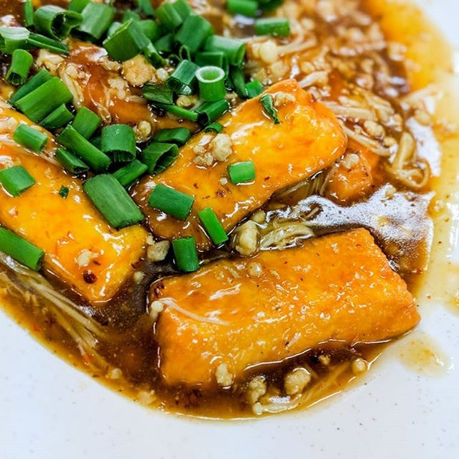 While the butter pork ribs is my forever to go at two chefs, the homemade tofu with golden mushrooms ($10) is a close second.