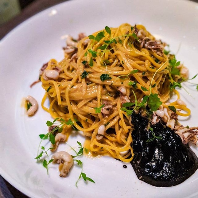 """Short for """"amore"""", Amo is named after the colloquial term of endearment used across Italy regardless of dialects and regions.And endeared i am to their Tagliolini with Spicy Young Cuttlefish and Squid Ink ($28)."""