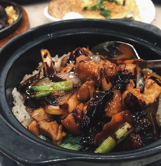 宫保鸡丁砂锅饭!