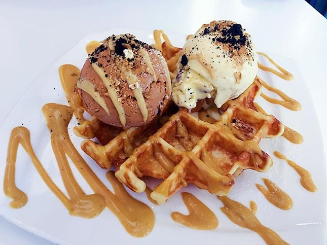 Hatter Street Woah'ffles $13.50  Love how the waffles stay crispy even after the ice cream has melted.