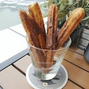 churros dusted with sugar and cinnamon drizzled with hazelnut sauce - at just 1 buck for a stick only!