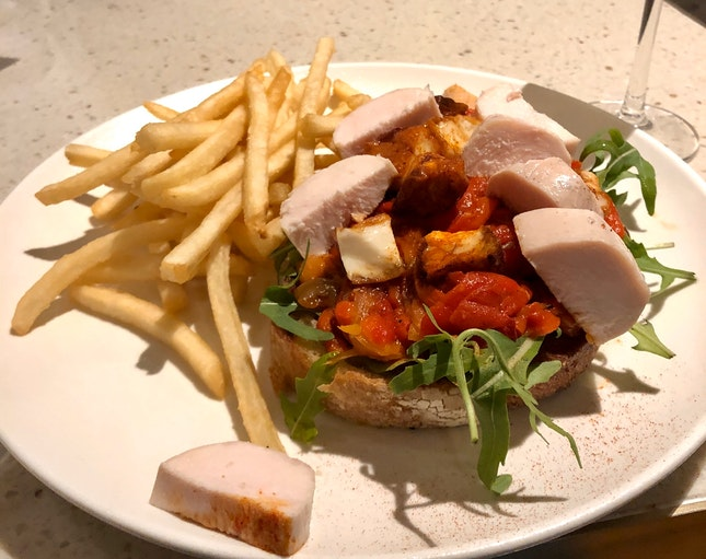 Grilled Halloumi & Confit Pepper Tartine (+ Chicken Roulade) [$20++]