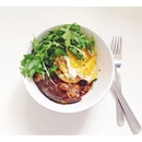 Brunch / left over egg plant lasagna with a fried egg and rocket salad