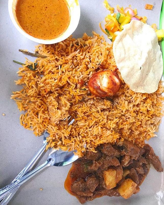 Mutton Biryani at Mufiz Briyani Hut, 150 South Bridge Road:Nasi Briyani is a traditional Indian-rice based dish accompanied with meat and curry.