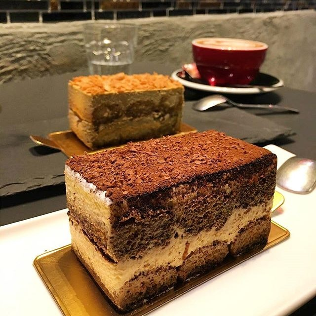 A no-frills slice of tiramisu with the right balance and a strong coffee flavour -- nothing extravagant about it.