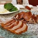 Their Crispy Skin Roast Duck - served with crepe wraps and pieces of cucumber - certainly lived up to its name.