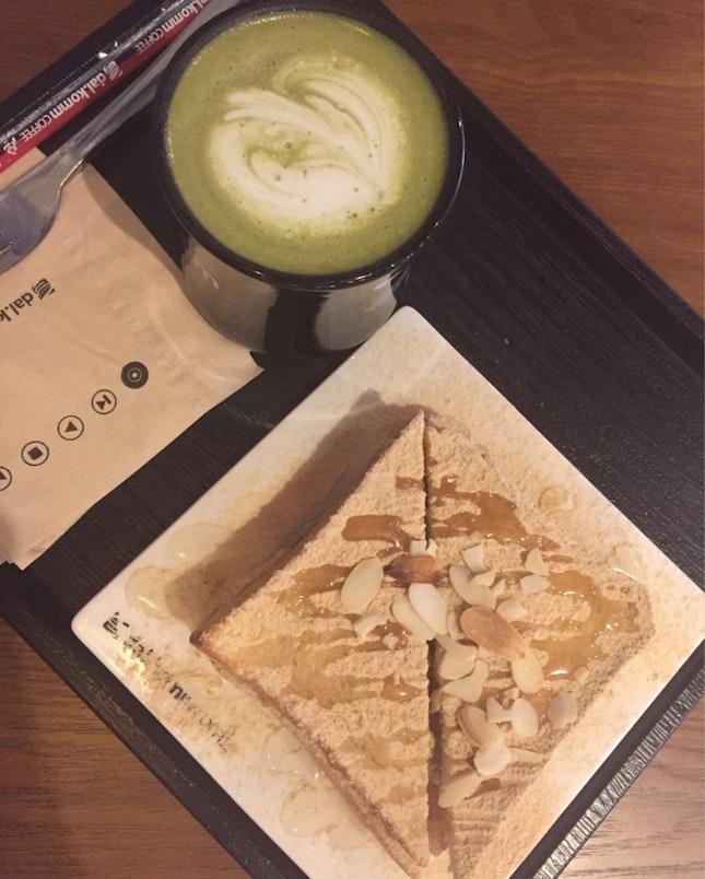 Injeolmi Toast Original And Green Tea Latte