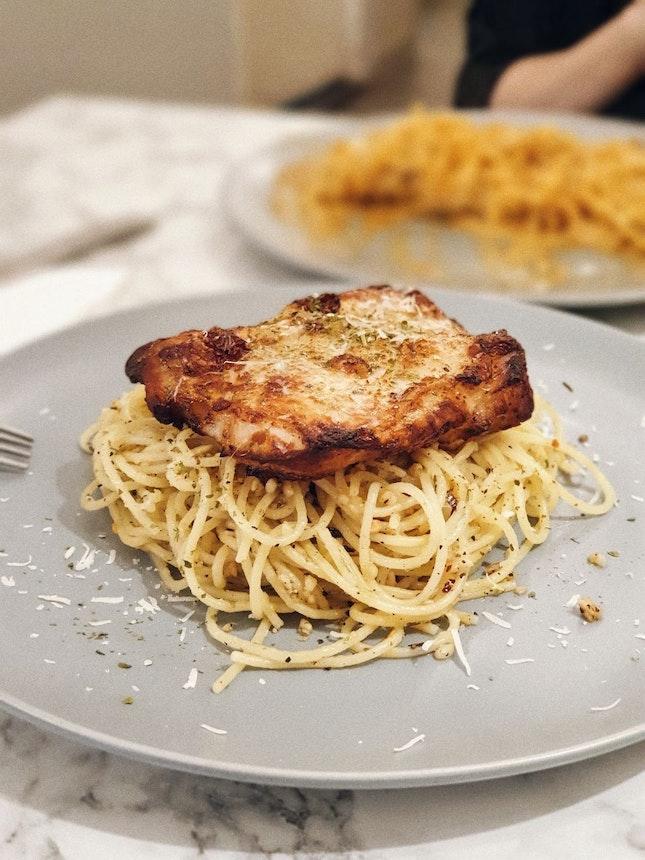 Chicken Chop Aglio Olio [$12.90]