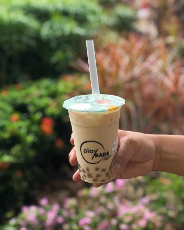 Guanyin milk tea with peanut butter pearl [$4.70] .