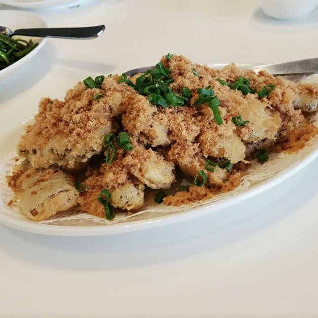 Fried Egg Plant With Pork Floss