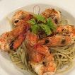 Spaghetti Aglio Olio E Acciughe (+ prawn)