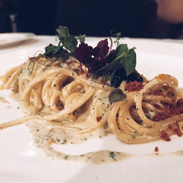 Spaghetti Carbonara with Cavier | Classic spaghetti on the menu which really lives up to its name.