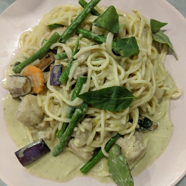 Green Curry Chicken Pasta [~$9]