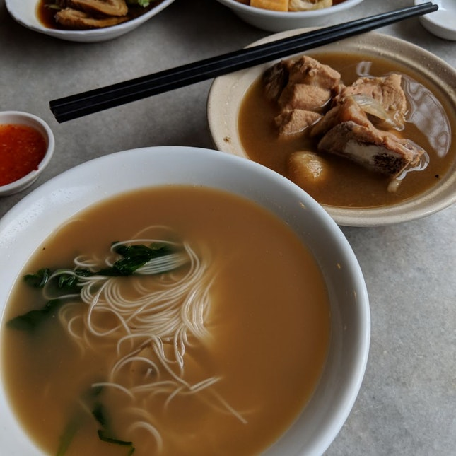 BKT Pork Ribs with Mee Sua [$7 + $3.50]