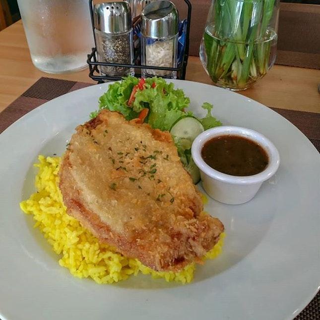 Crispy Pork loin with butter rice.