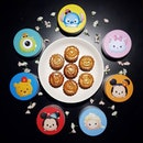 Tsum Tsum Mooncakes by @uddersicecream 🌙  7 tsum tsum characters, embossed on each mooncake & packed in super adorable metal tins 🌈  My fav character is Winnie the Pooh.