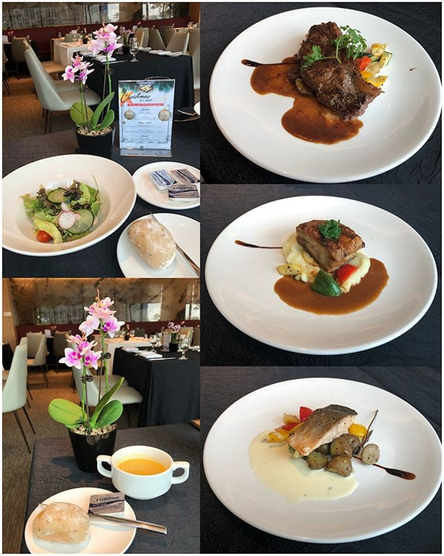 Weekday Executive Lunch ($29.80) 🍽 Garden Salad, Soup of the Day with raisins bread, Coffee/Tea 🍽 Pan-Seared Norwegian Salmon Fillet served with sautéed seasonal veg & baby potatoes with sage butter sauce 🍽 Australian Sirloin with red wine sauce 🍽 Crispy Pork Belly served with aged balsamic glaze, pork au jus with seasonal veg and garlic mashed potato 🍽 Verdict: Steak & Salmon over cooked, tough & dry.
