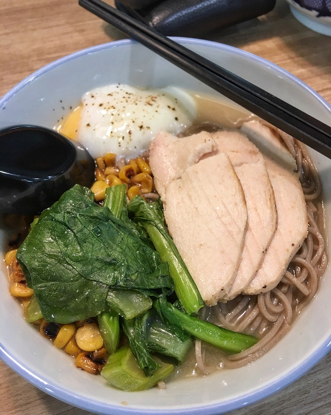 Soba (with sous vide chicken breast, onsen egg, ABC miso soup) ($4)