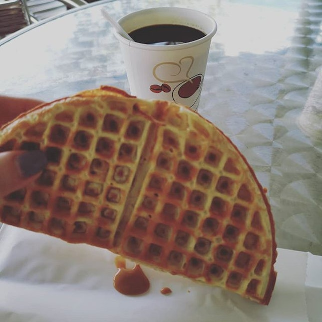 waffles with peanut butter!