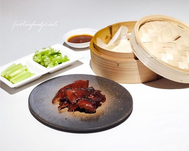 Yàn Peking Duck served with homemade crêpe and traditional garnishes, 招牌片皮鴨 (Half: $40++ / Full: $80++.