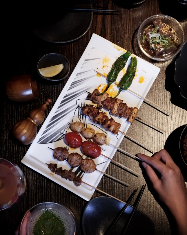 Szechuan Yakitori (mostly $3 per skewer, up to $8 for foie gras)