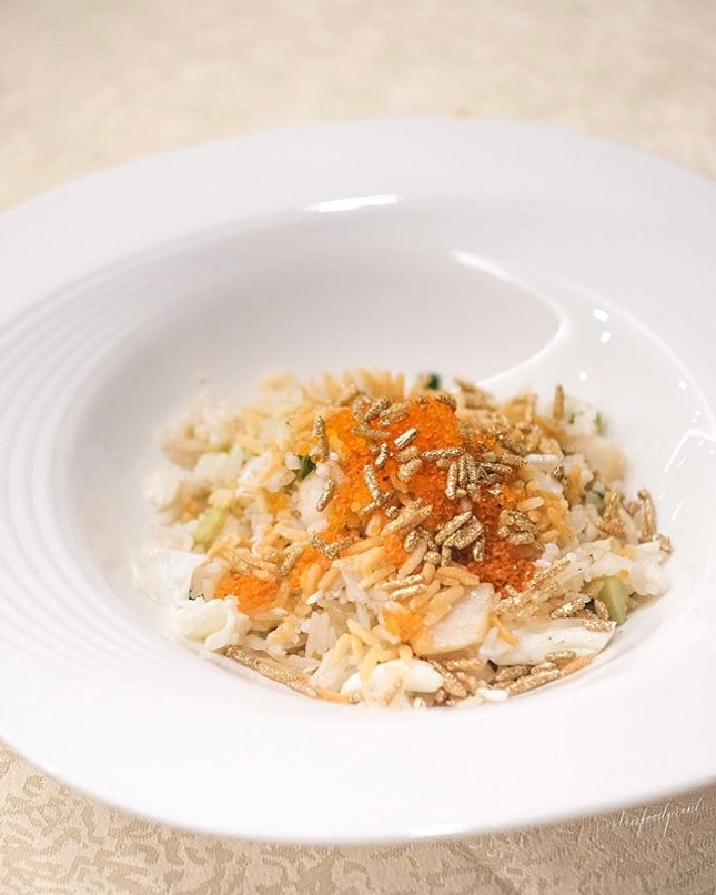 "Tobiko Egg White Fried Rice with Crab Meat and Scallop (part of 6 course Imperial Feast ""Guo Yan"" menu at $48, UP:$88)."