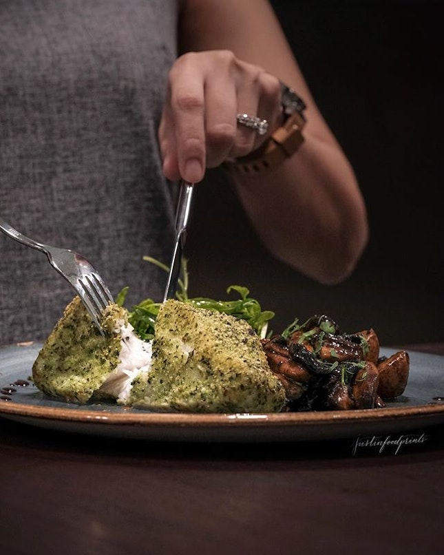 [Sustainably sourced] Organic Basil-crusted Glacier 51 Tooth Fish ($38).