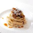 """Spaghetti alla Chitarra, Pancetta e Fondura """"Cacio e Pepe"""" ($32)."""