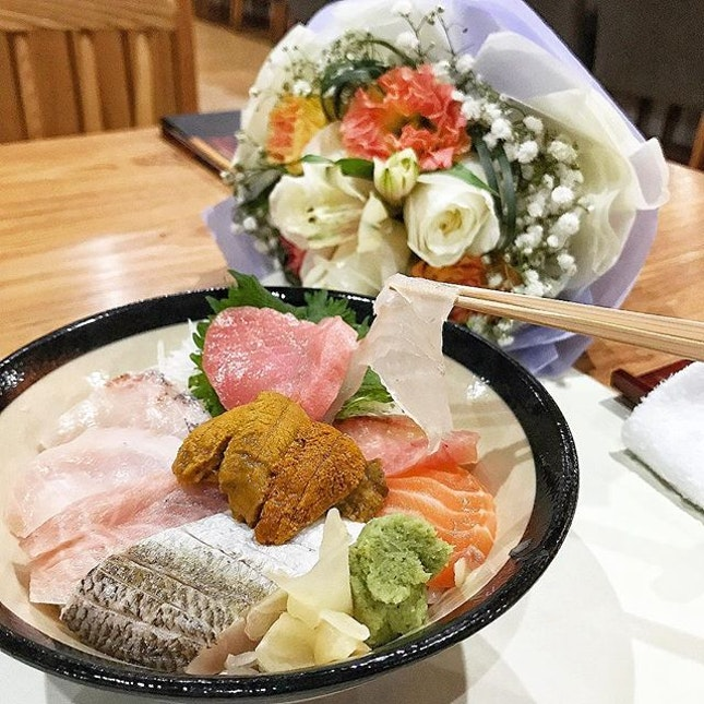 Premium Chirashi Don with Uni (sea urchin) and Toro.