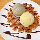 double scoop ice cream with waffle ($11+) Hojicha and Mango