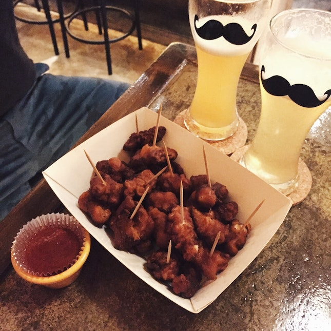 Fruity Frozen Beer ($9~$12) & Fried Octopus ($16)