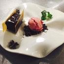 Part brick chocolate with Raspberry gelato