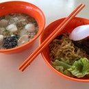 Fish Ball Mushroom Minced Meat Ba Chor Mee ($4)